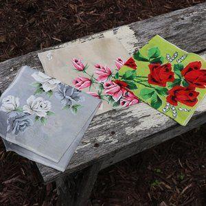 Vintage 1950s Irish Linen Floral Handkerchiefs